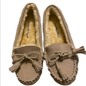Lucky Brand Leather Faux Fur Lined Moccasins Tan